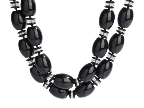 Seaman Schepps 18K White Gold, Black Onyx, Crystal, and Diamond Nesting Necklaces