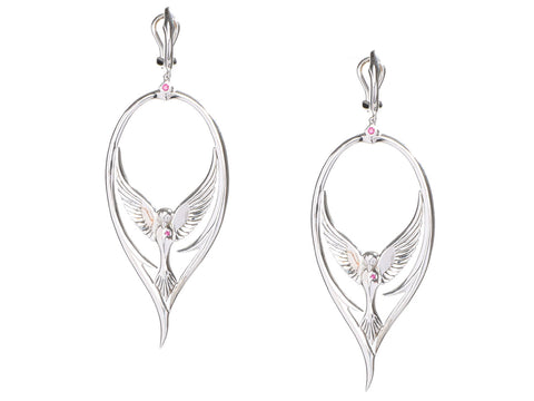 Stephen Webster Sterling Silver Ruby Bird Pierced Drop Earrings