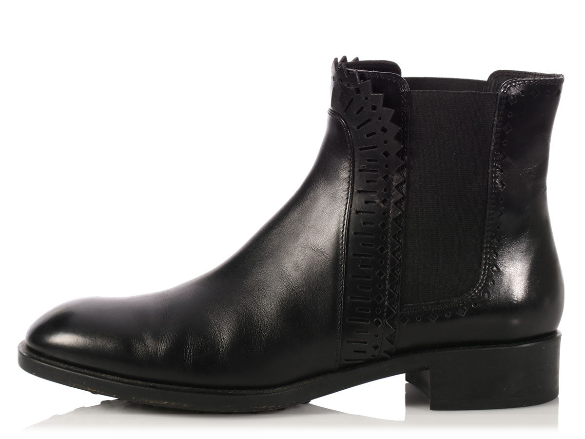 Tod's Black Chelsea Ankle Boots