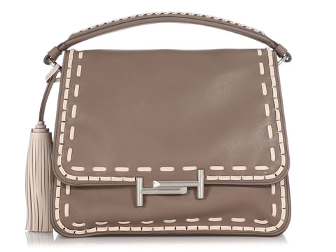 Tod's Taupe Whipstitched Double T Flap