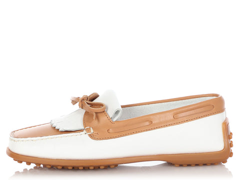 Tod's White and Tan Moccasins