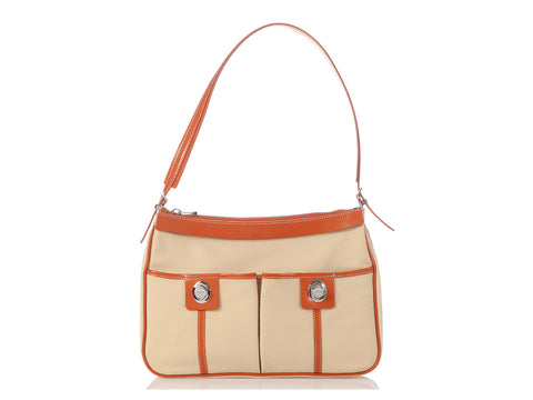 Tod's Cream and Orange Nylon Shoulder Bag