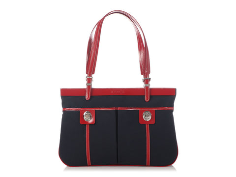 Tod's Navy Nylon and Red Leather Tote