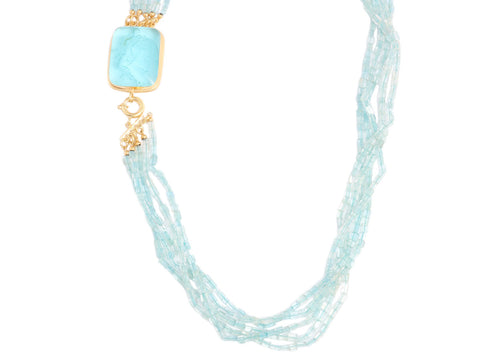 Tagliamonte Apatite Beads and Blue Venetian Glass Cameo Necklace