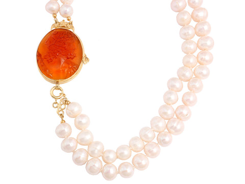 Tagliamonte Freshwater Pearl Necklace with Zeus-Etched Venetian Glass