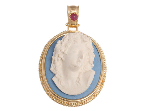 Tagliamonte 18K Gold and Porcelain Cameo Pendant