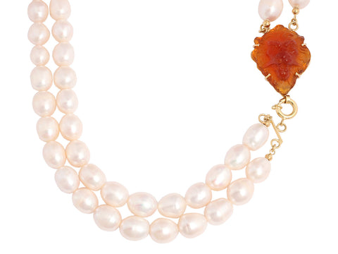 Tagliamonte Freshwater Pearl Necklace with Lion-Etched Venetian Glass