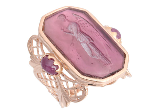 Tagliamonte 18K Rose Gold Venetian Intaglio and Nike Ring