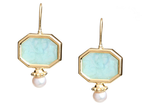 Tagliamonte 18K Yellow Gold Neptune Venetian Glass Cameo Pierced Earrings