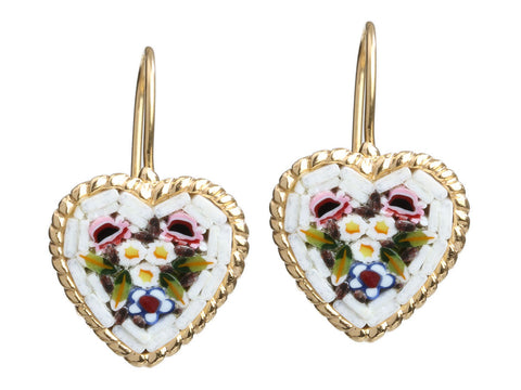 Tagliamonte 18K Yellow Gold Heart Micromosaic Pierced Earrings