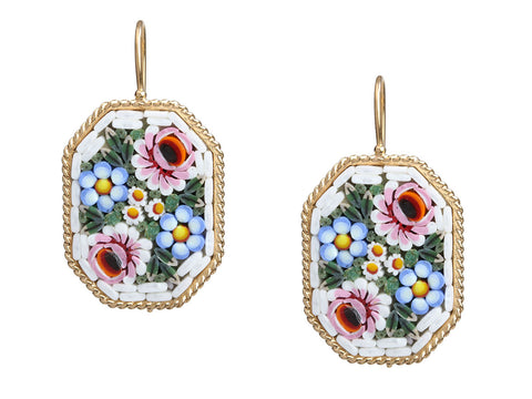 Tagliamonte 18K Yellow Gold Oval Micromosaic Pierced Earrings