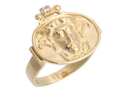 Tagliamonte 18K Yellow Gold Diamond Medusa Head Ring