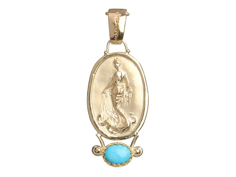 Tagliamonte 18K Yellow Gold Turquoise Birth of Venus Cameo Pendant