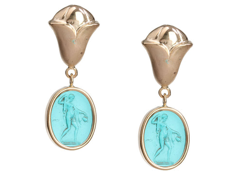 Tagliamonte 18K Yellow Gold Venetian Glass Cameo Goddess Pierced Drop Earrings