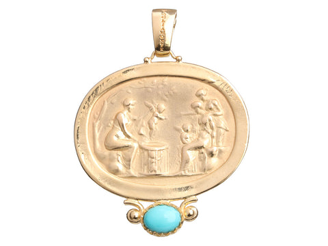 Tagliamonte 18K Yellow Gold Turquoise Angels Seller Pendant