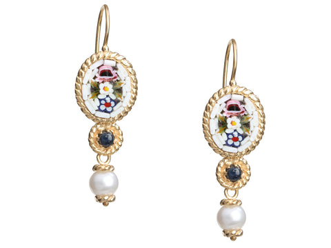 Tagliamonte 18K Yellow Gold Micromosaic Pierced Drop Earrings