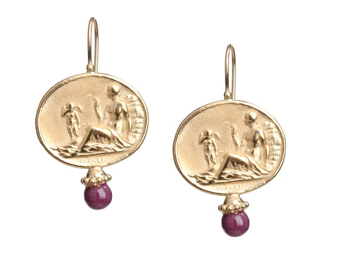 Tagliamonte 18K Yellow Gold Ruby Cabochon Pierced Drop Earrings