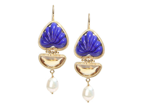 Tagliamonte Gold-Washed Sterling Silver Lapis, Citrine, and Pearl Pierced Drop Earrings