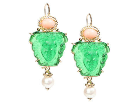 Tagliamonte Gold-Washed Sterling Silver Green Medusa Venetian Glass and Gem Pierced Drop Earrings