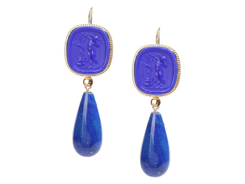 Tagliamonte Gold-Washed Sterling Silver Blue Venetian Glass Cameo and Lapis Pierced Drop Earrings