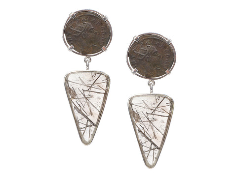 Tagliamonte Sterling Silver Rutilated Quartz Roman Coin Pierced Drop Earrings