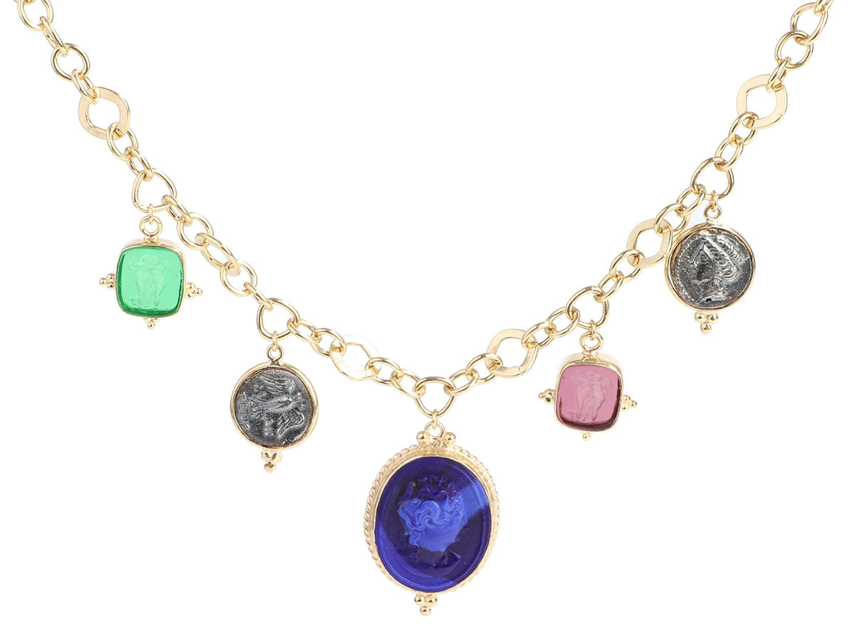 Tagliamonte Gold-Washed Sterling Silver Multicolored Venetian Glass Cameo Pendant Necklace