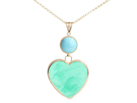 Tagliamonte Gold-Washed Sterling Silver Turquoise Venetian Cameo Heart Pendant Necklace