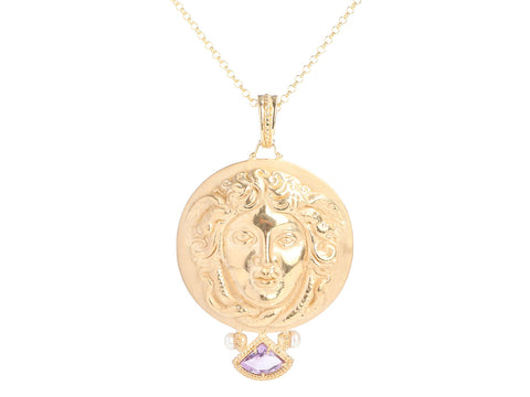 Tagliamonte Gold-Washed Sterling Silver Amethyst Medusa Pendant Necklace