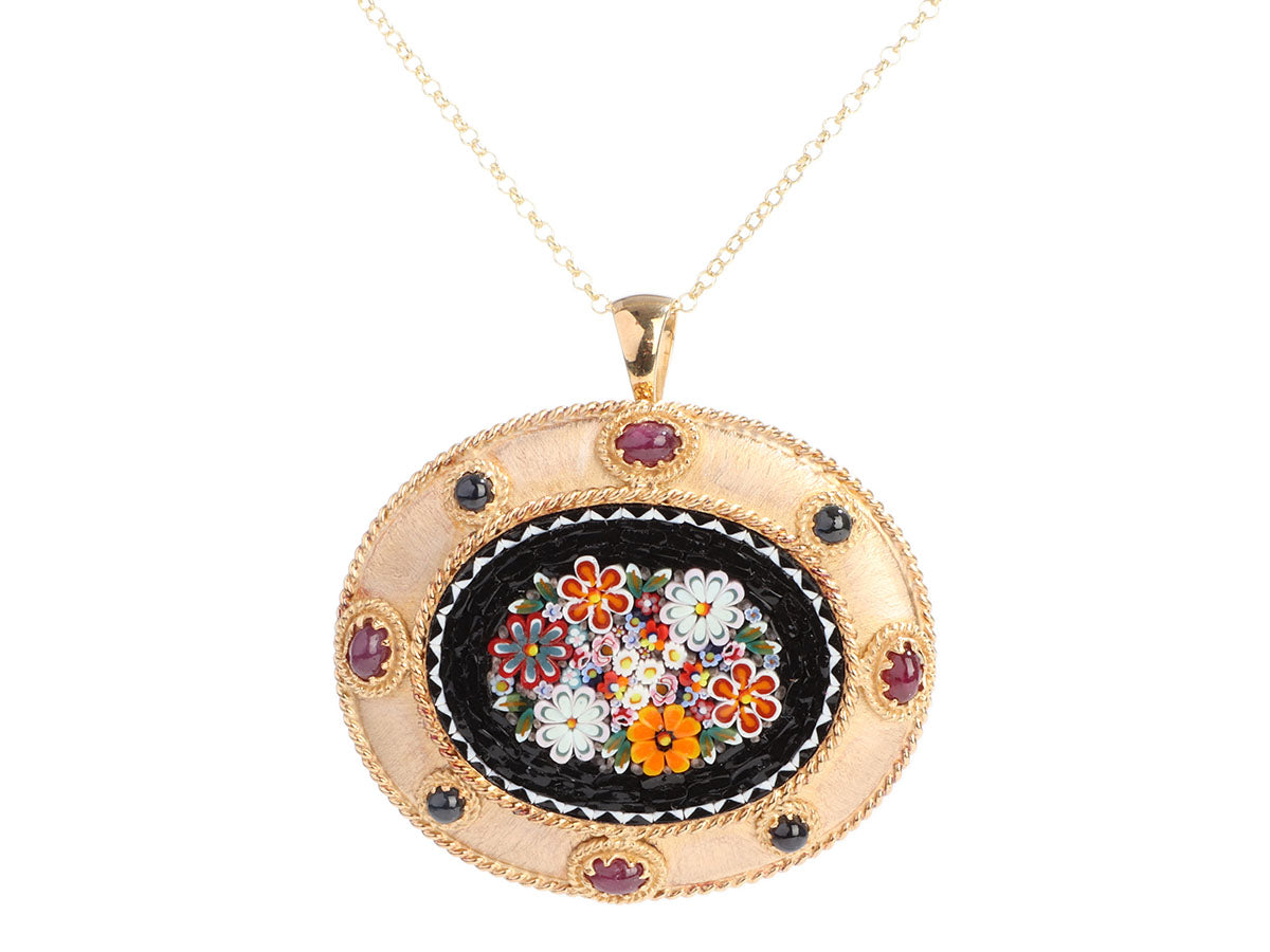 Tagliamonte Gold-Washed Sterling Silver Micromosaic Pendant Necklace