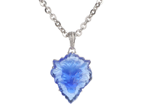 Tagliamonte Sterling Silver Blue Lion Venetian Glass Cameo Pendant Necklace