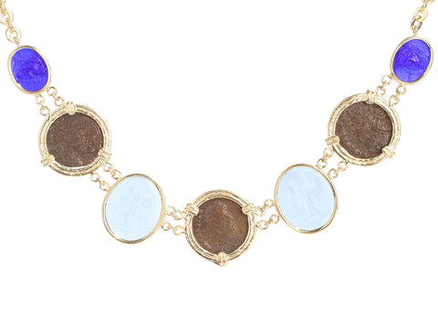 Tagliamonte Gold-Washed Sterling Silver Venetian Cameo and Roman Coins Necklace