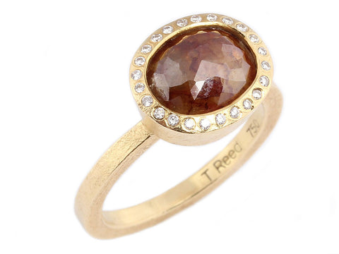 Todd Reed Oval Red/Yellow Diamond Ring
