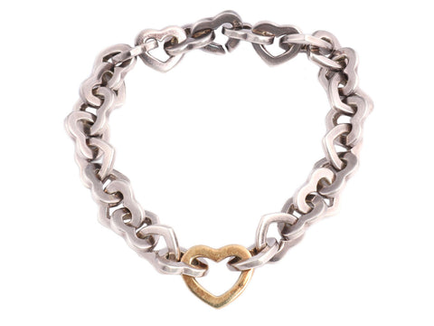 Tiffany & Co. Two Tone Open Heart Bracelet