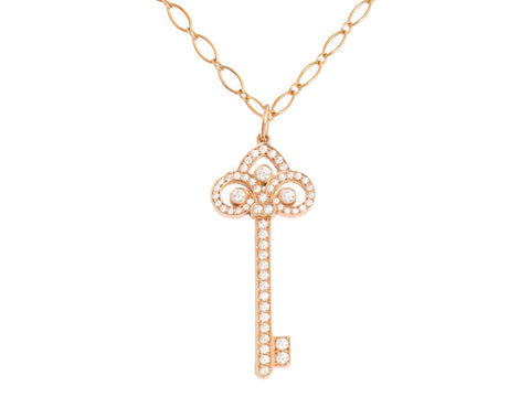 Tiffany & Co. 18K Rose Gold and Diamond Fleur de Lis Key Necklace