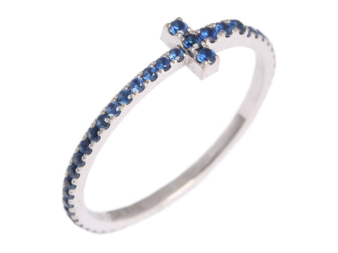 Tiffany & Co. 18K White Gold and Sapphire T Band Ring