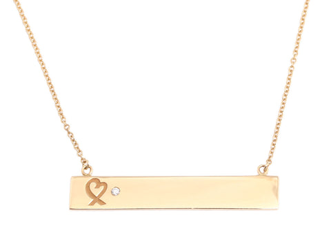 Tiffany & Co. 18K Yellow Gold Loving Heart Bar Pendant