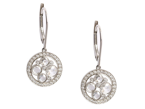 Tiffany & Co. Platinum Diamond Cobblestone Drop Earrings