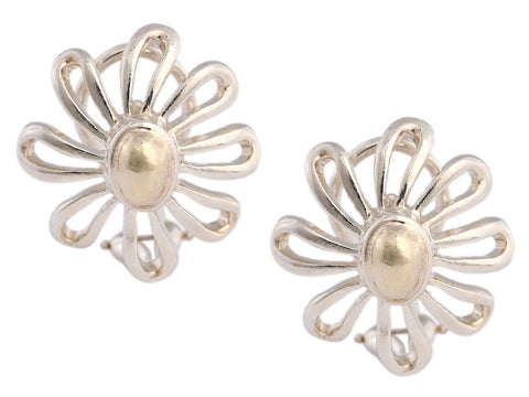 Tiffany & Co. Sterling Silver and 18K Yellow Gold Paloma Picasso Daisy Earrings