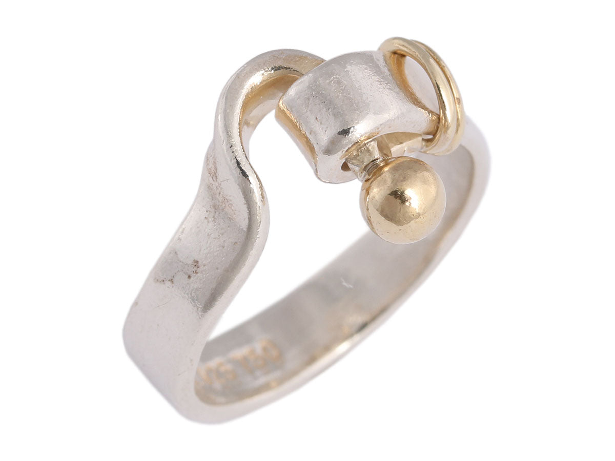 Tiffany & Co. Sterling Silver and 18K Yellow Gold Hook and Eye Ring