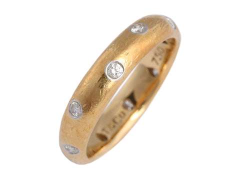 Tiffany & Co. 18K Yellow Gold and Diamond Etoile Band Ring