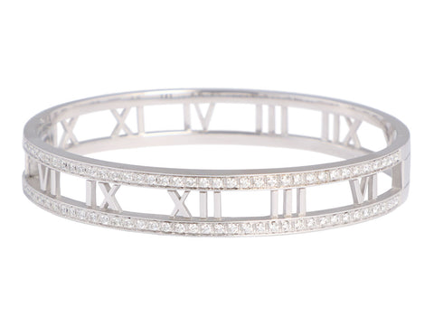 Tiffany & Co. 18K White Gold Diamond Atlas Bangle
