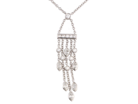 Tiffany & Co. Platinum Diamond Drop Necklace