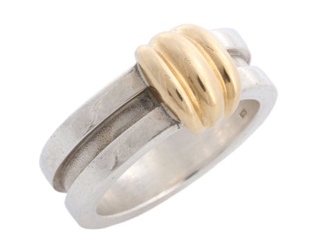 Tiffany & Co. Sterling Silver and 18K Yellow Gold Band Ring