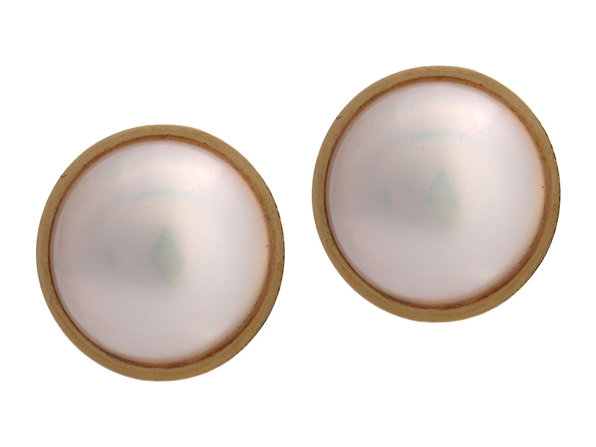 Tiffany & Co. Vintage 18K Yellow Gold Mabe Pearl Pierced Earrings