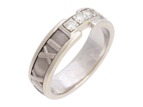 Tiffany & Co. Narrow 18K White Gold Diamond Atlas Band Ring