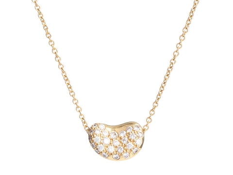 Tiffany & Co. 18K Yellow Gold Diamond Bean Necklace