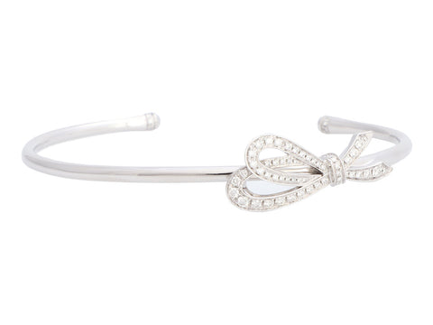 Tiffany & Co. Small 18K White Gold Diamond Bow Cuff Bracelet