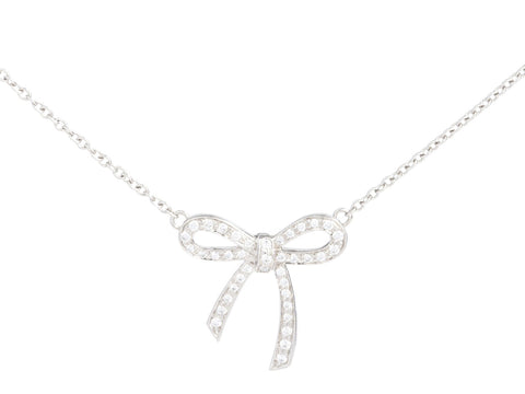 Tiffany & Co. Mini Platinum and Diamond Metro Bow Pendant Necklace