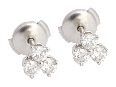 Tiffany & Co. Platinum 0.6-Carat Diamond Aria Pierced Earrings