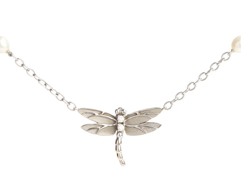 Tiffany & Co. 18K White Gold Diamonds and Pearls Dragonfly Necklace